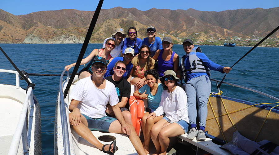 Group photo on the boat in Colombia