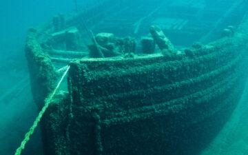 Underwater shipwreck in the ocean