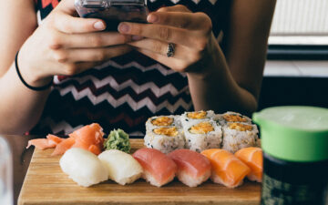 Sushi dinner in front of woman