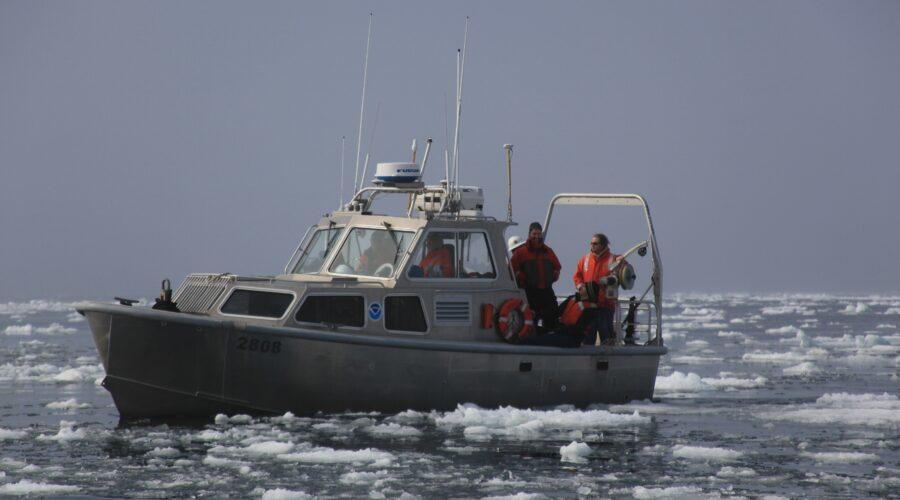Scientific boat in ice