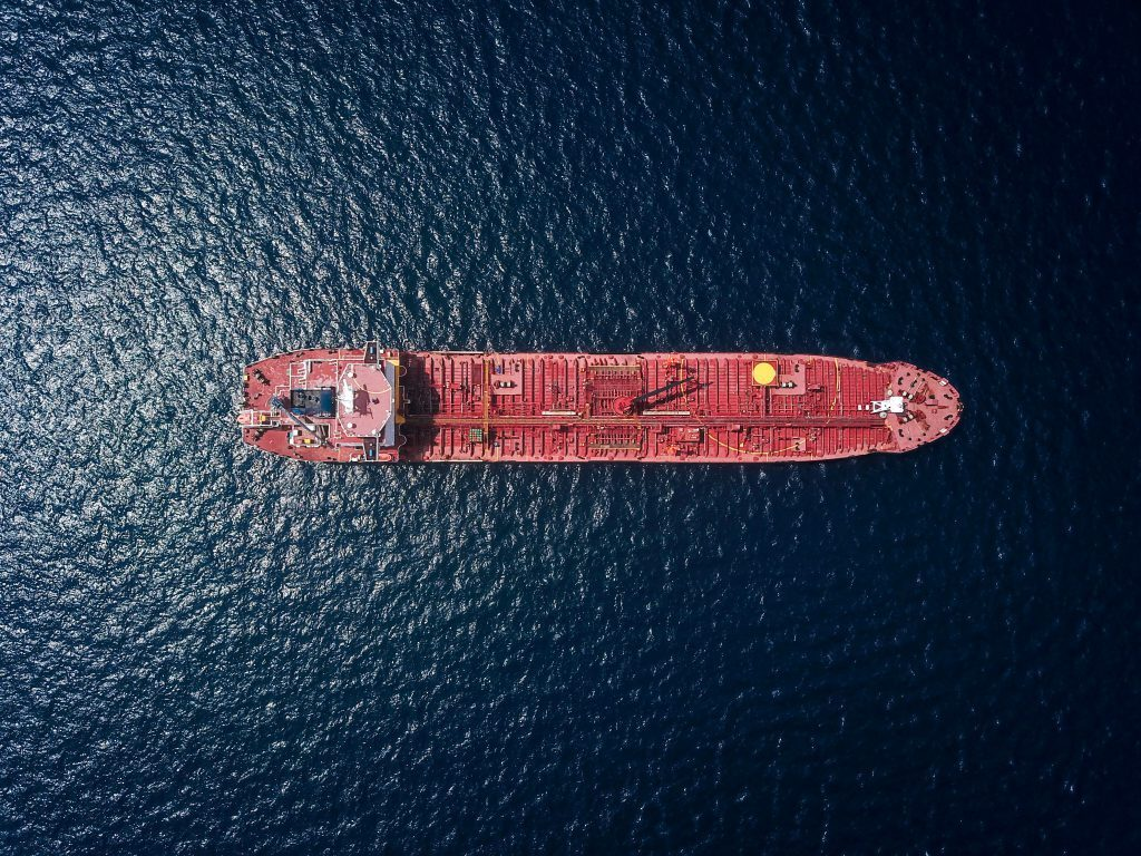 Oil tanker from above